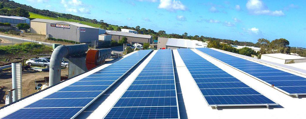 Roof-top solar installation at Fleurieu Blast & Paint
