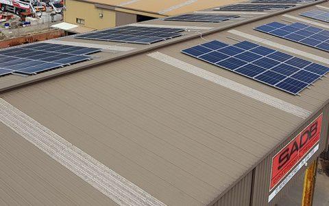 Roof-top solar installation at SADB