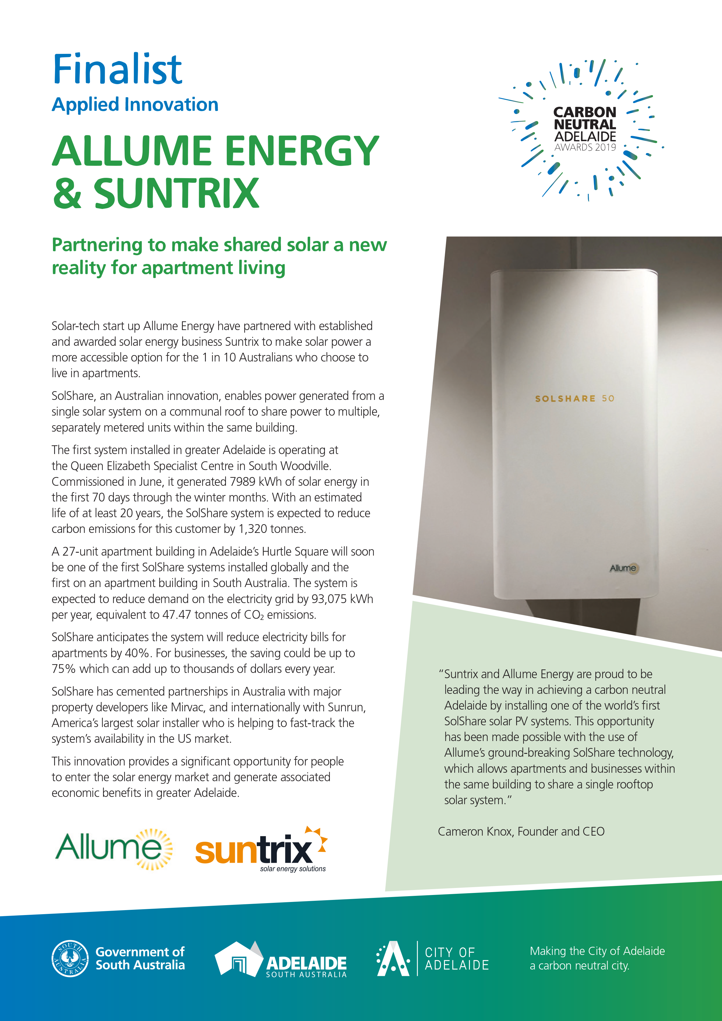 Allume Energy & Suntrix - Finalist